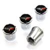 Chevy Corvette Logo Chrome Tire Valve Stem Caps