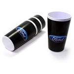 (4) Ford Classic Oval Logo Black and White Cups