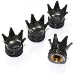 Black Chrome Crown Tire Valve Stem Caps - set of 4