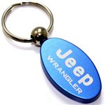 Blue Aluminum Metal Oval Jeep Wrangler Logo Key Chain Fob Chrome Ring
