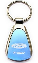 Authentic Ford F-150 Blue Logo Metal Chrome Tear Drop Key Chain Ring Fob