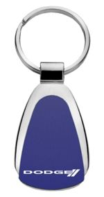 Authentic Dodge Stripes Blue Logo Metal Chrome Tear Drop Key Chain Ring Fob
