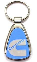 Authentic Dodge Cummins Blue Logo Metal Chrome Tear Drop Key Chain Ring Fob