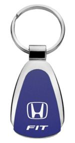 Authentic Honda Fit Blue Logo Metal Chrome Tear Drop Key Chain Ring Fob