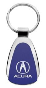 Authentic Acura Blue Logo Metal Chrome Tear Drop Key Chain Ring Fob