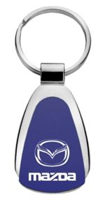 Authentic Mazda Blue Logo Metal Chrome Tear Drop Key Chain Ring Fob