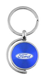 Blue Ford Logo Brushed Metal Round Spinner Chrome Key Chain Ring Spin Fob