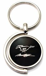 Black Ford Mustang Script Logo Brushed Metal Round Spinner Chrome Key Chain Ring