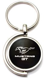 Black Ford Mustang GT Logo Brushed Metal Round Spinner Chrome Key Chain Ring