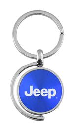 Blue Jeep Logo Brushed Metal Round Spinner Chrome Key Chain Spin Ring