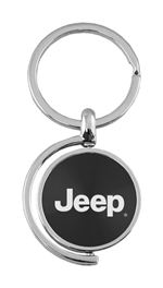 Black Jeep Logo Brushed Metal Round Spinner Chrome Key Chain Spin Ring