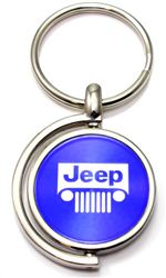 Blue Jeep Grille Logo Brushed Metal Round Spinner Chrome Key Chain Spin Ring