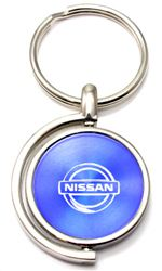 Blue Nissan Logo Brushed Metal Round Spinner Chrome Key Chain Spin Ring