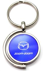 Blue Mazda Zoom-Zoom Logo Brushed Metal Round Spinner Chrome Key Chain Spin Ring