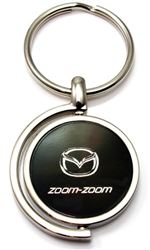 Black Mazda Zoom-Zoom Logo Brushed Metal Round Spinner Chrome Key Chain Ring