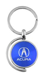 Blue Acura Logo Brushed Metal Round Spinner Chrome Key Chain Spin Ring