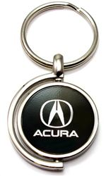Black Acura Logo Brushed Metal Round Spinner Chrome Key Chain Spin Ring