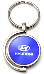 Blue Hyundai Logo Brushed Metal Round Spinner Chrome Key Chain Spin Ring