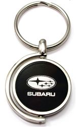 Black Subaru Logo Brushed Metal Round Spinner Chrome Key Chain Spin Ring