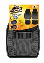 4 Armor All Black Rubber All-Weather Interior Floor Mats Set for Auto-Car-Truck