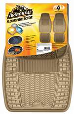 4 Armor All Tan Rubber All-Weather Interior Floor Mats Set for Auto-Car-Truck