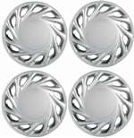 "14"" Premium Car Vector Silver Wheel/Rim Hub Caps Covers - Set of 4"