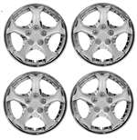 "14"" Premium Car Chrome 5 Spoke Wheel/Rim Hub Caps Covers w/Bolt Nuts - Set of 4"