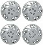 "15"" Premium Car Silver Wheel/Rim Hub Caps Covers w/Chrome Bolt Nuts - Set of 4"