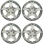 "15"" Premium Car Chrome 5 Spoke Wheel/Rim Hub Caps Covers w/Bolt Nuts - Set of 4"