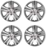 "16"" Premium Car Silver Wheel/Rim Hub Caps Covers w/Chrome Bolt Nuts - Set of 4"