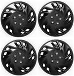 "14"" Premium Car Black Wheel/Rim Hub Caps Covers w/Chrome Bolt Nuts - Set of 4"