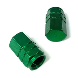 2 Premium Green Aluminum Tire/Wheel Air Stem Valve Caps for Motorcycle-Bike