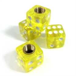 4 Premium Clear Yellow Dice Tire/Wheel Air Stem Valve Caps for Car-Truck-Hot Rod