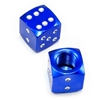 2 Premium Metal Blue Dice Tire/Wheel Air Stem Valve Caps for Bike-Motorcycle