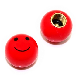 2 Red Smiley Face Ball Tire/Wheel Air Stem Valve Caps for Bike-Motorcycle