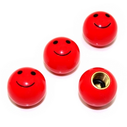 4 Red Smiley Face Ball Tire/Wheel Air Stem Valve Caps for Car-Truck-Hot Rod