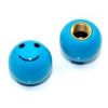 2 Blue Smiley Face Ball Tire/Wheel Air Stem Valve Caps for Bike-Motorcycle