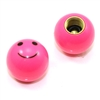 2 Pink Smiley Face Ball Tire/Wheel Air Stem Valve Caps for Bike-Motorcycle