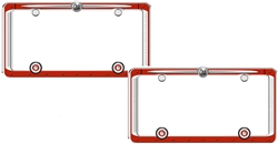 2 Vintage Antique Old Design Chrome Red License Plate Tag Frames for Car-Truck