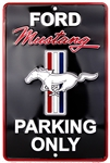 "Ford Mustang Parking Only Black/Red 8"" x 12"" Metal Novelty Sign"