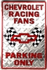 "Chevrolet Racing Fans Parking Only Red 12"" x 18"" Metal Garage Novelty Sign"