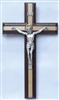 "Crucifix - 11"" Walnut & Maple Cross with Silverplated Salerni Corpus"