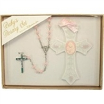 Baptism Gift Set - Girl Cross with Rosary