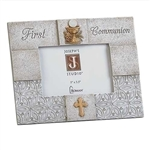 5x3.5 Gray Photo Frame with Gold Chalice - First Communion