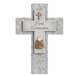 First Communion Wall Cross - Resin/Stone 8.75""