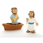 Action Figure Set - Jesus Walks On Water - 3""