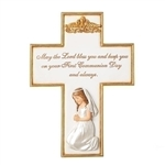 First Communion Wall Cross Praying Girl - 8.5""