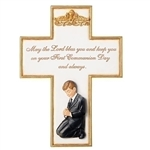 First Communion Wall Cross Praying Boy - 8.5""