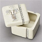 "White and Silver First Communion Keepsake Box (1.5""H, 2""W, 2""D)"