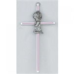 "Cross - 6"" Praying Girl (Pink Inlay)"